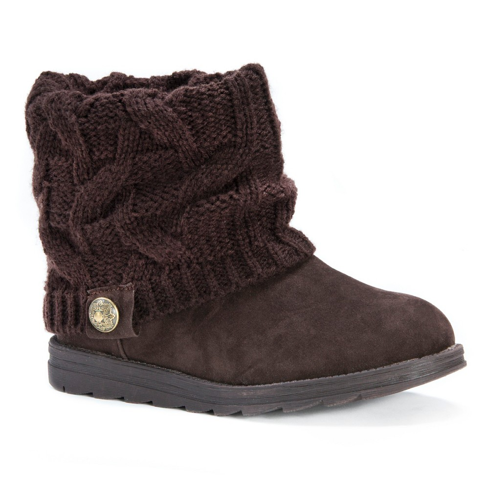 Womens Muk Luks Patti Sweater Ankle Boots - Brown 11