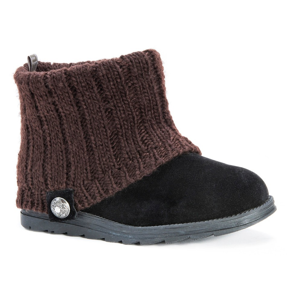 Womens Muk Luks Patti Sweater Ankle Boots - Black/Brown 7