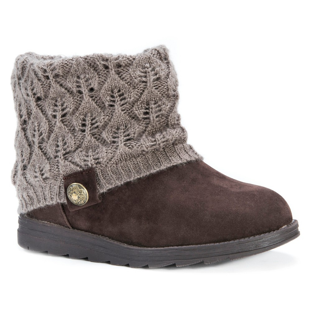 Womens Muk Luks Patti Sweater Ankle Boots - Coffee (Brown) 7