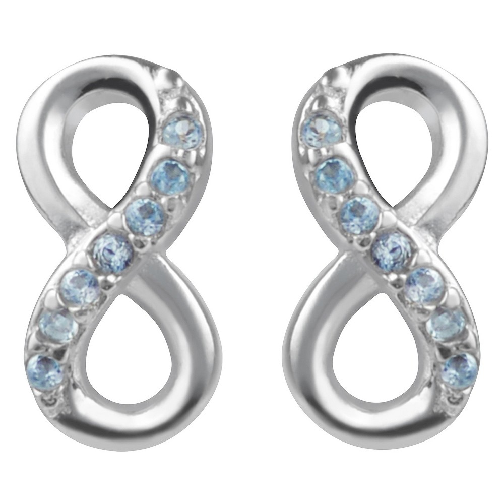 1/10 CT. T.W. Round-cut CZ Pave Set Infinity Stud Earrings in Sterling Silver - Aqua, Womens