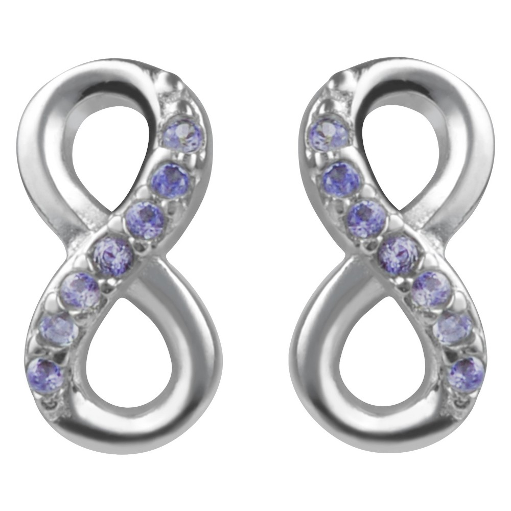 1/10 CT. T.W. Round-cut CZ Pave Set Infinity Stud Earrings in Sterling Silver - Purple, Womens