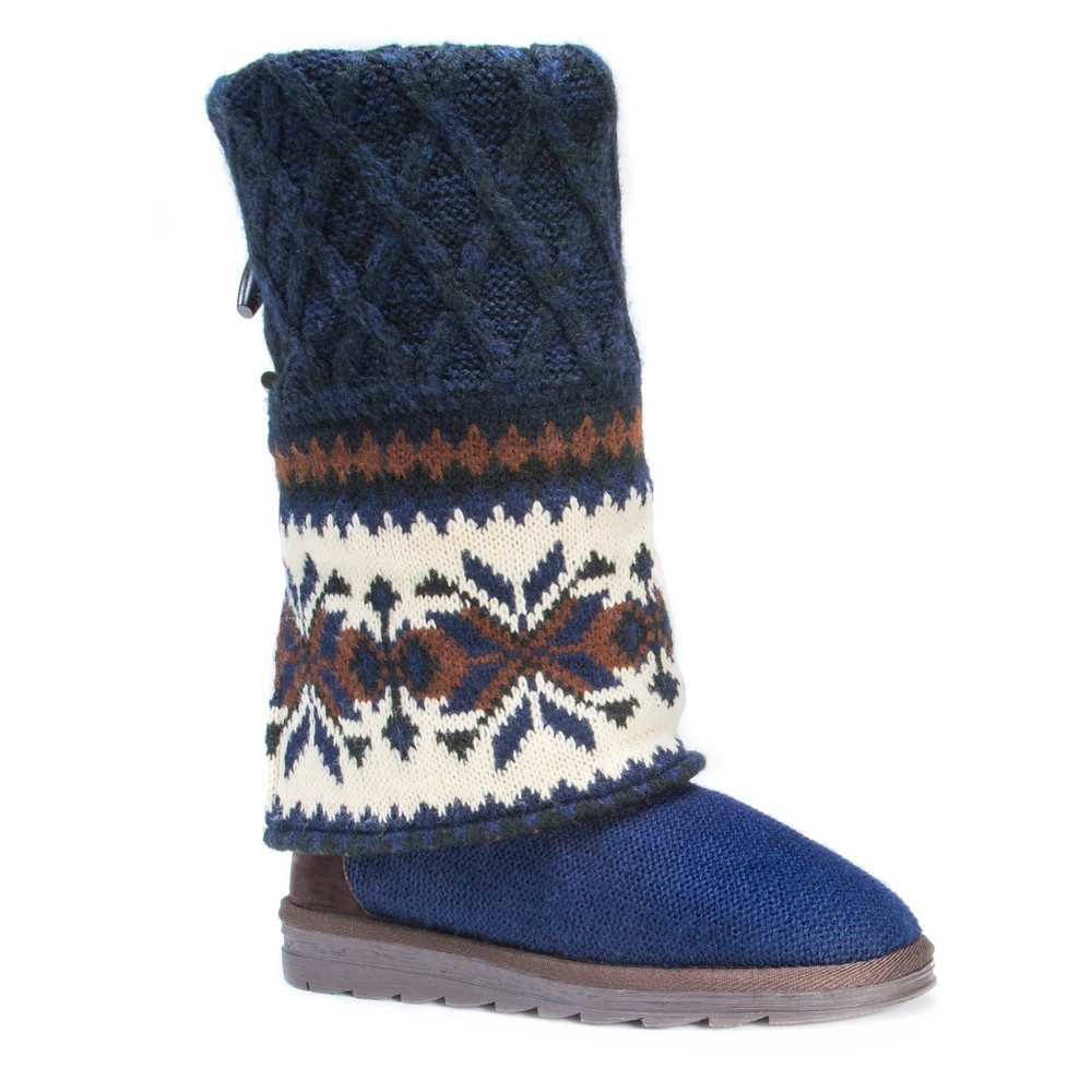 Womens Muk Luks Shawna Fair Isle Boots - Blue 7