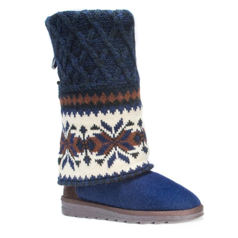 Womens Muk Luks Shawna Fair Isle Boots - Blue 9