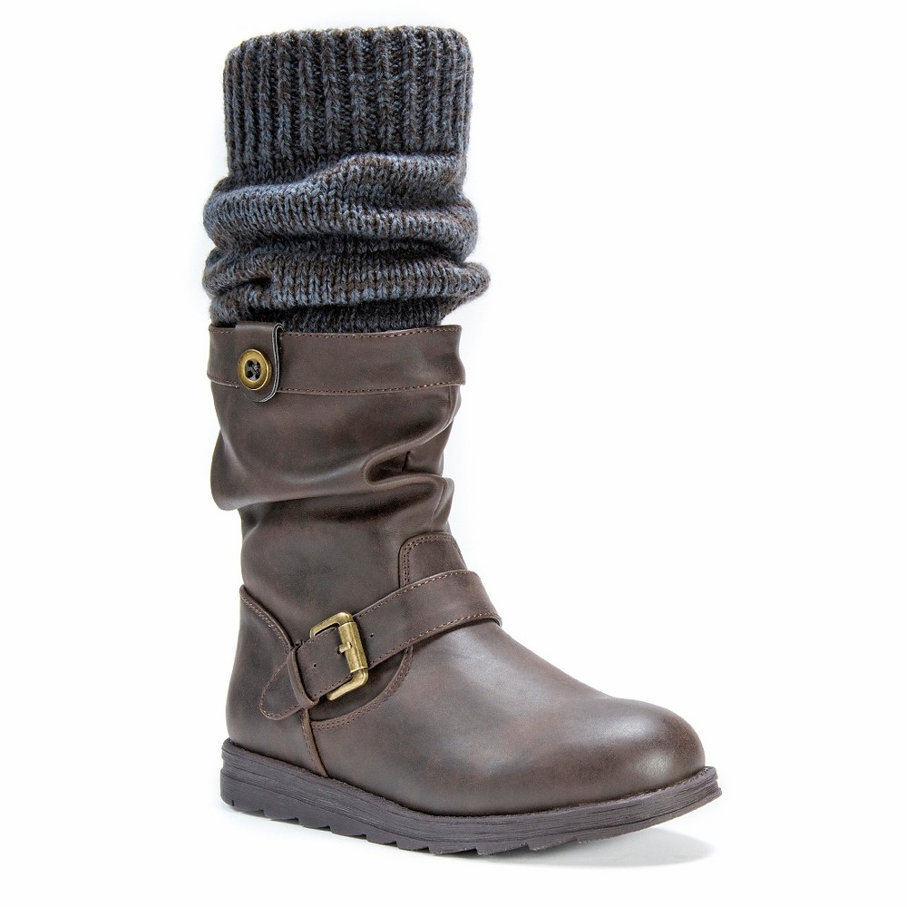 Womens Muk Luks Sky Slouch Boots - Brown 9