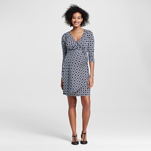 Maternity Faux Wrap Dress Navy/White L - Expected by Lilac, Women