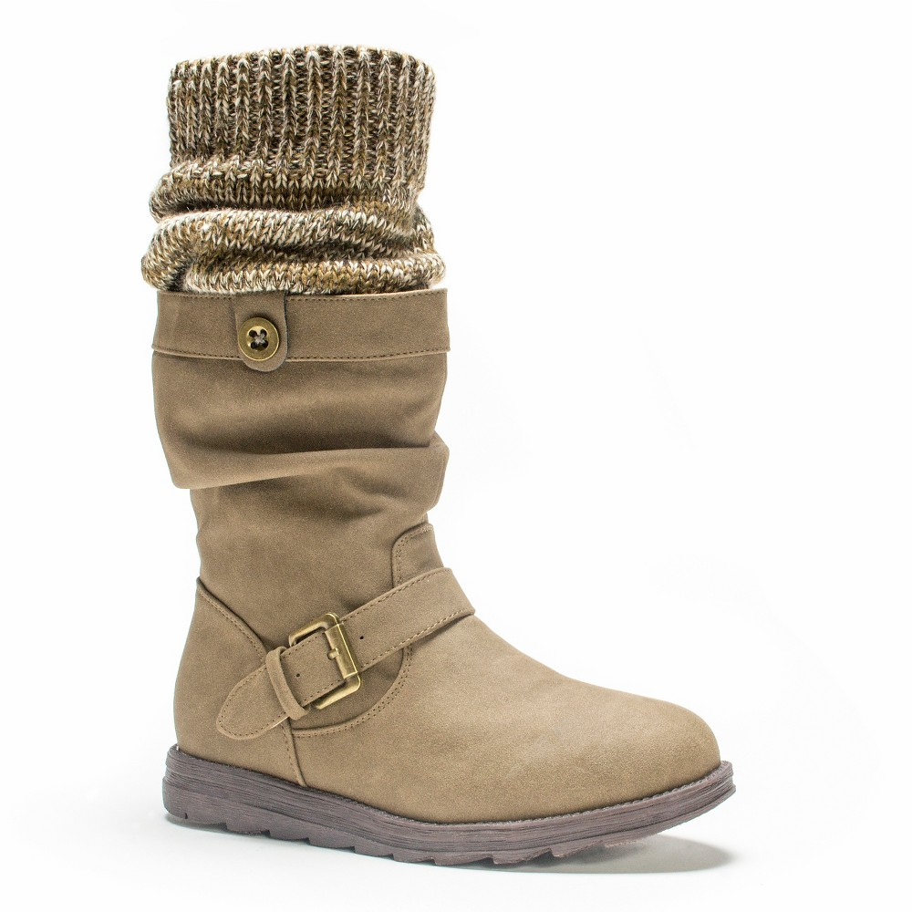 Womens Muk Luks Sky Slouch Boots - Taupe (Brown) 6