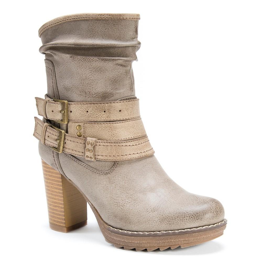 Womens Muk Luks Skylynn Multi Strap Slouch Boots - Gray 10