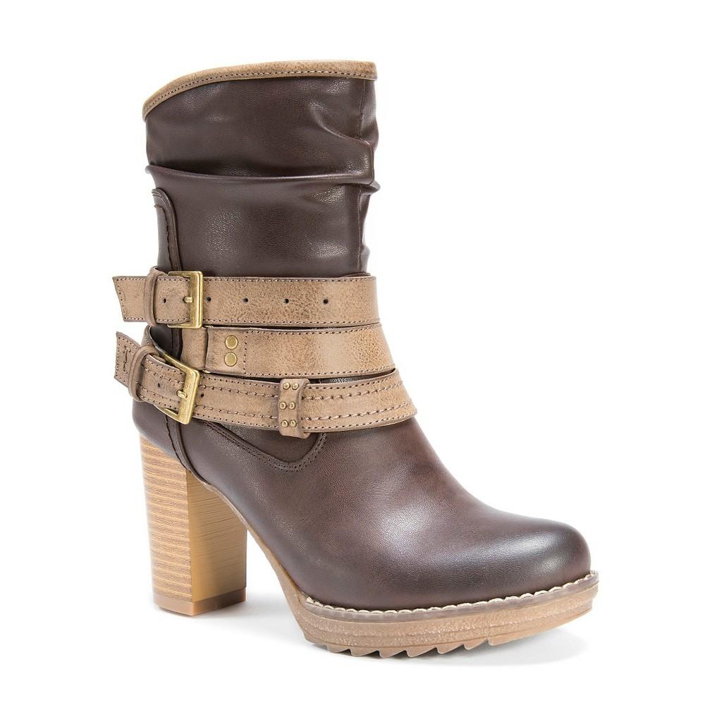 Womens Muk Luks Skylynn Multi Strap Slouch Boots - Brown 10