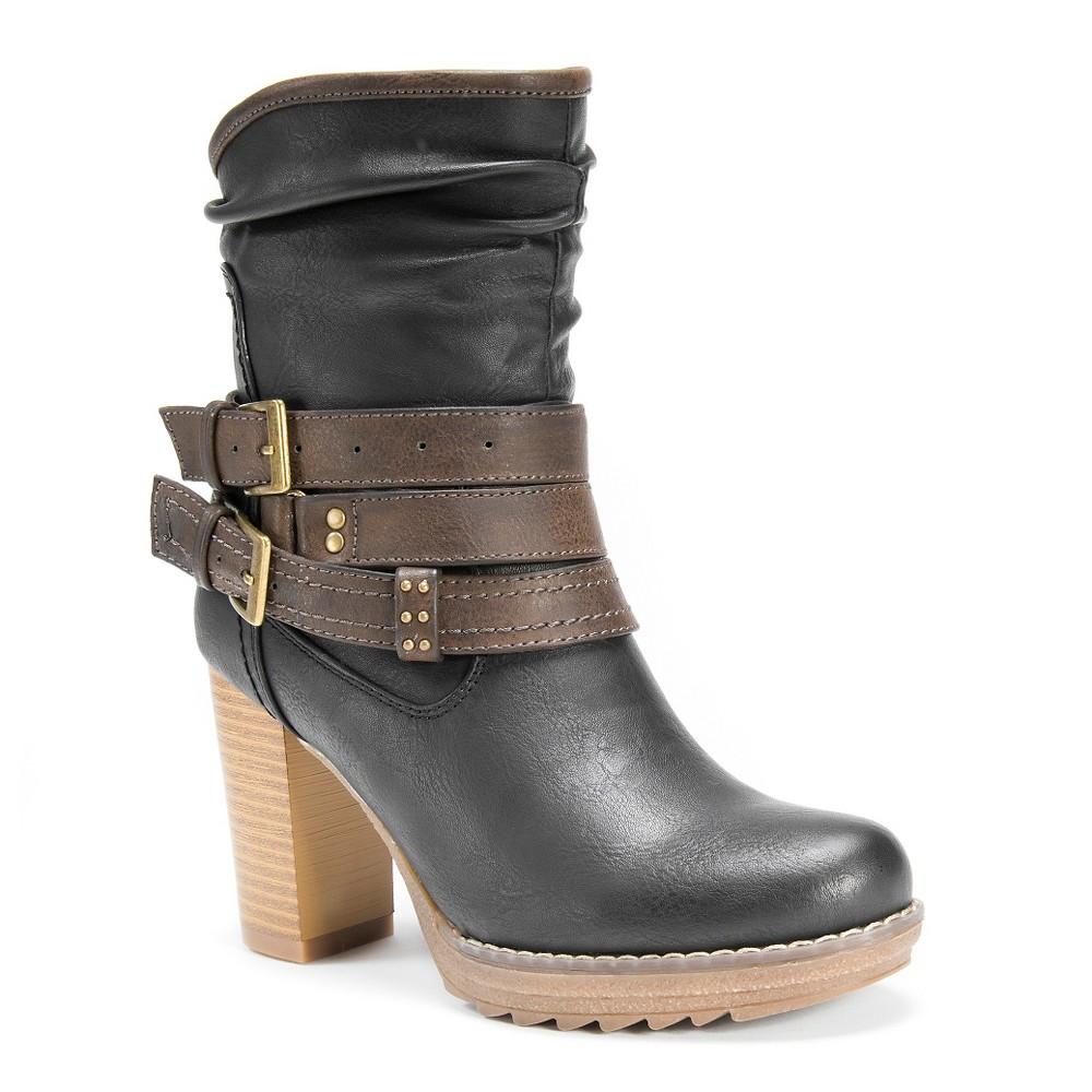 Womens Muk Luks Skylynn Multi Strap Slouch Boots - Black 7