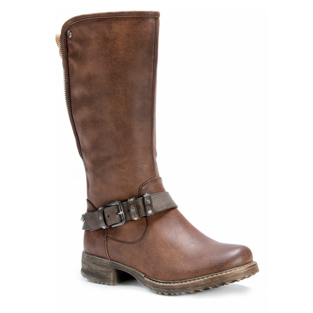 Womens Muk Luks Santina Back Zip Boots - Cognac (Red) 7