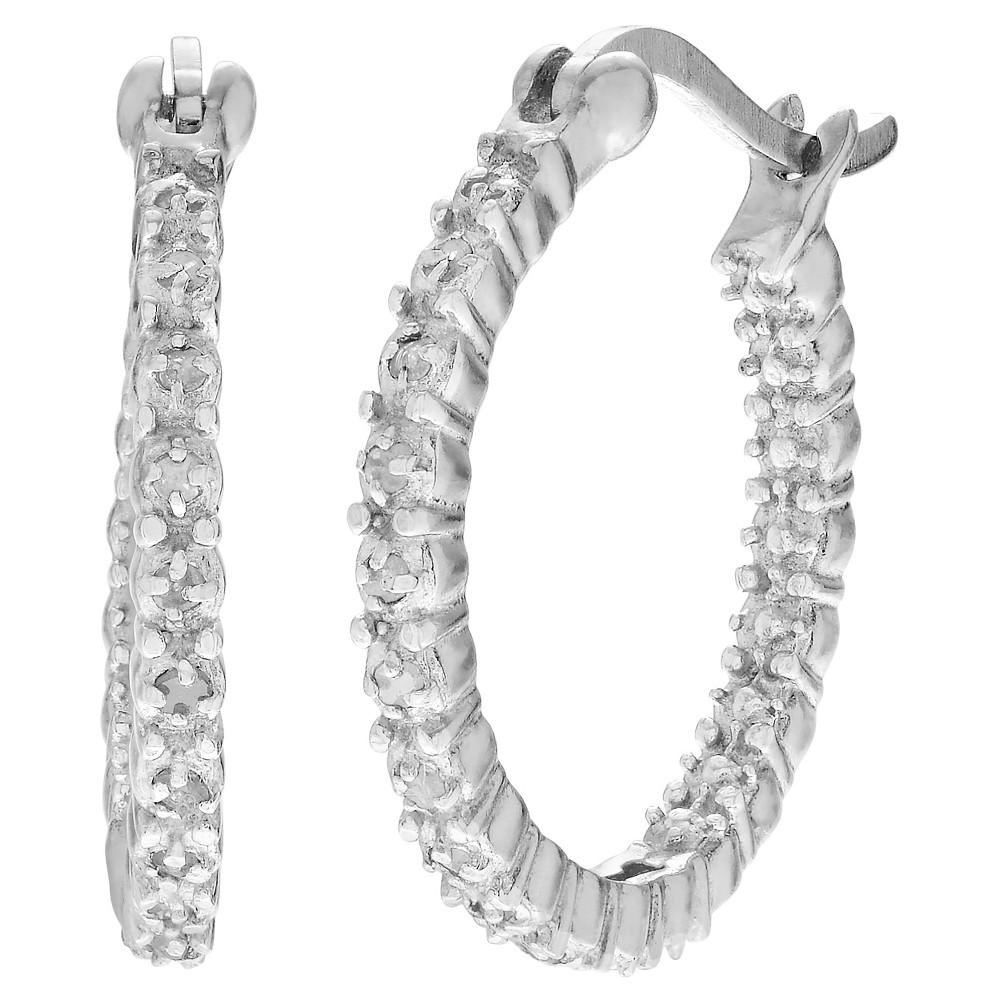 1 CT. T.W. Round-cut CZ Basket Set Hoop Earrings in Sterling Silver - Silver, Womens