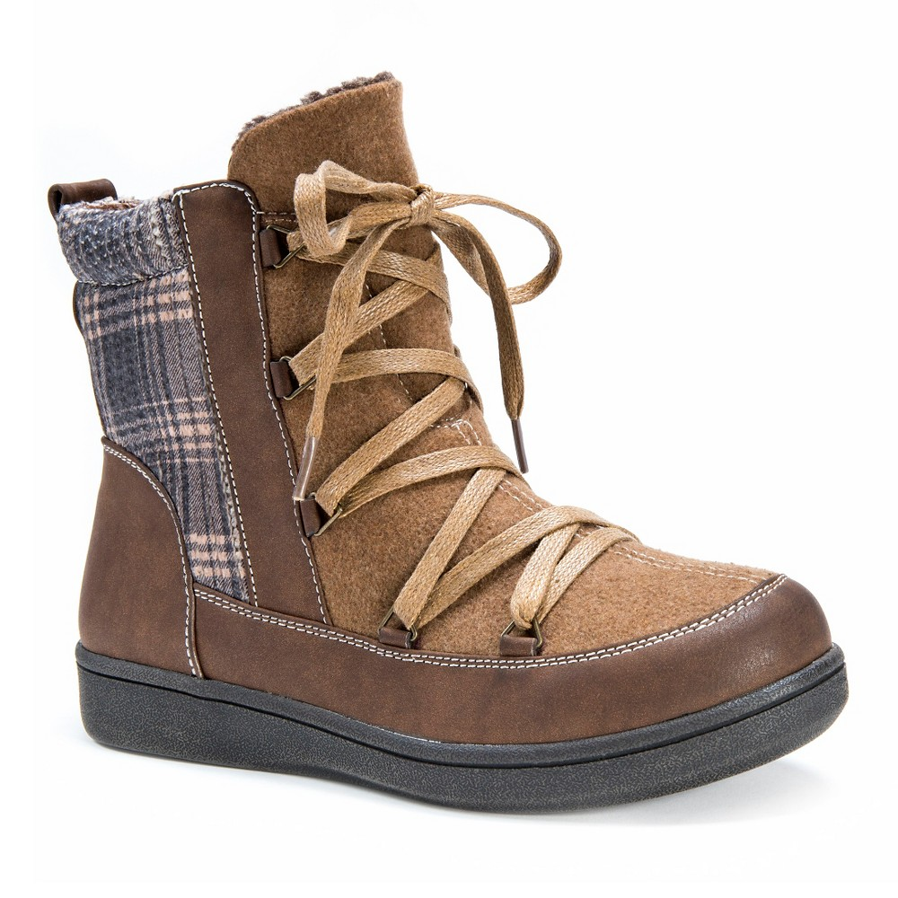 Womens Muk Luks Shayla Plaid Print Boots - Brown 7