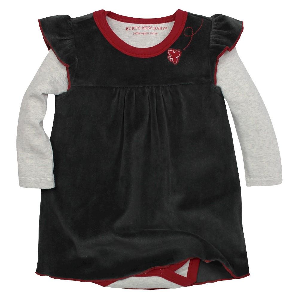 Organic Flutter Sleeve Velour Dress & Bodysuit Ash 3-6M - Burts Bees Baby, Infant Girls, Size: 3-6 M, Gray