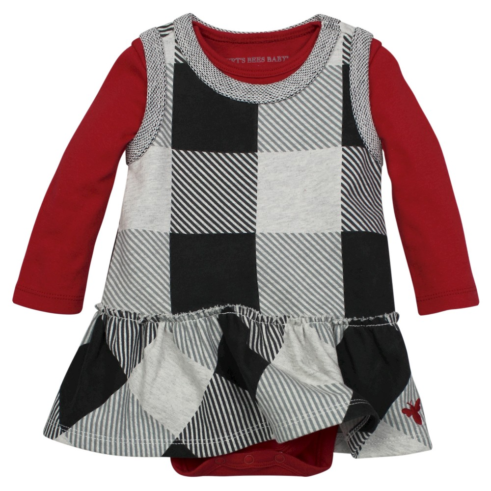 Organic Buffalo Check French Terry Jumper & Bodysuit Cranberry 12M – Burt's Bees Baby, Infant Girl's, Size: 12 M, Pink