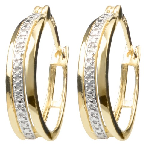 0.02 CT. T.W. Round-cut Diamond Accent Pave Set Hoop Earrings in Sterling Silver - image 1 of 2