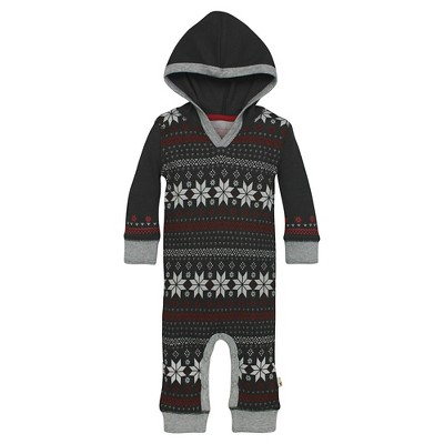 Organic Fair Aisle Henley Thermal Hooded Coverall Cranberry 6-9M - Burt's Bees Baby™