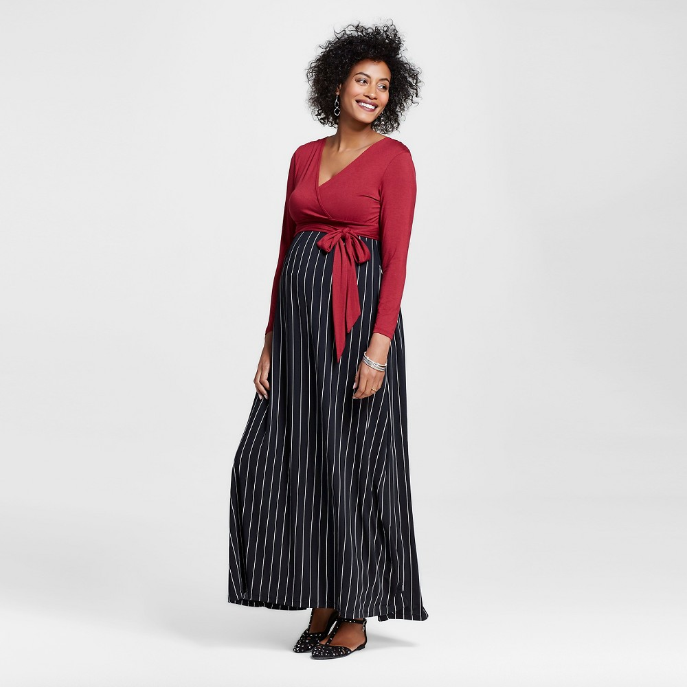 Maternity Longsleeve Maxi Dress Black/Red Stripe M – Expected by Lilac, Women's, Black Red