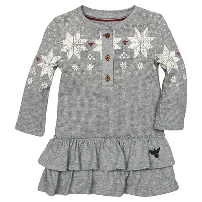 Organic Henley Ruffle Fair Isle Thermal Dress Heather Gray 0-3M - Burt's Bees Baby™