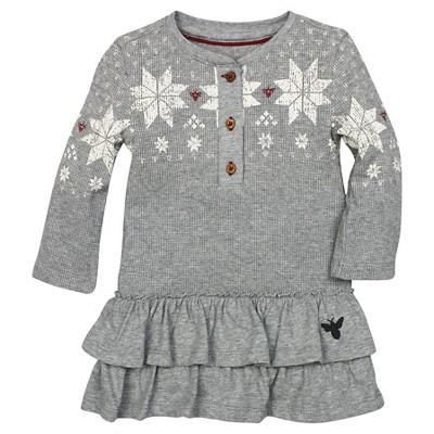 Organic Henley Ruffle Fair Isle Thermal Dress Heather Gray 12M - Burt's Bees Baby™