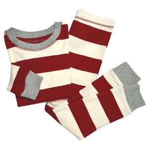 Organic Rugby Stripe Pajama Set Cranberry 3-6M - Burt