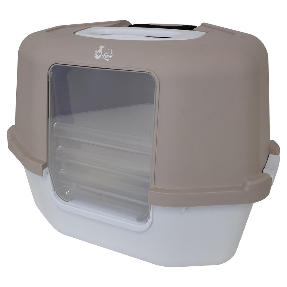 Space Saver Corner Hooded Cat Litter Pan - Gray - 10.6''x...