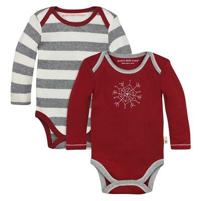 Organic 2-Pack Stripe & Beeflake Bodysuit Cranberry 3-6M - Burt's Bees Baby™