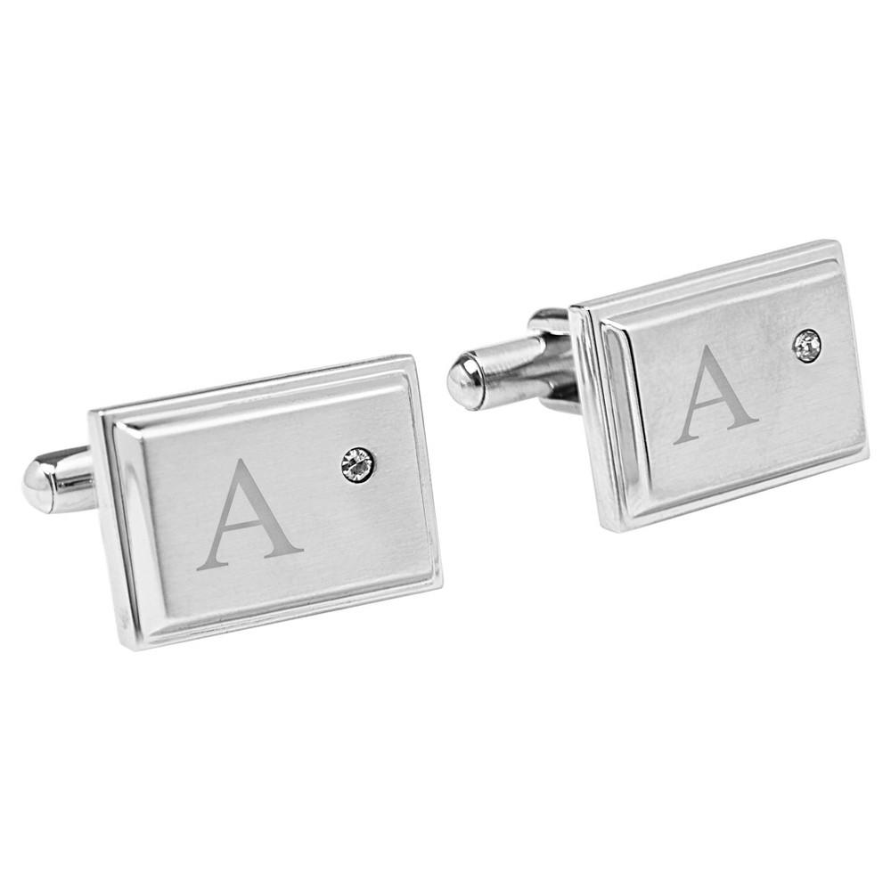 Monogram Groomsmen Gift Zircon Jewel Stainless Steel Cufflink - A, Mens, Silver