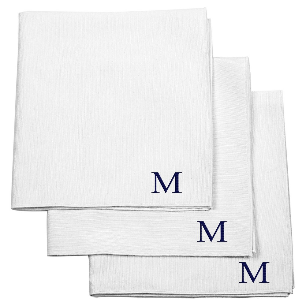 Monogram Groomsmen Gift Handkerchief Set - M, Mens, White