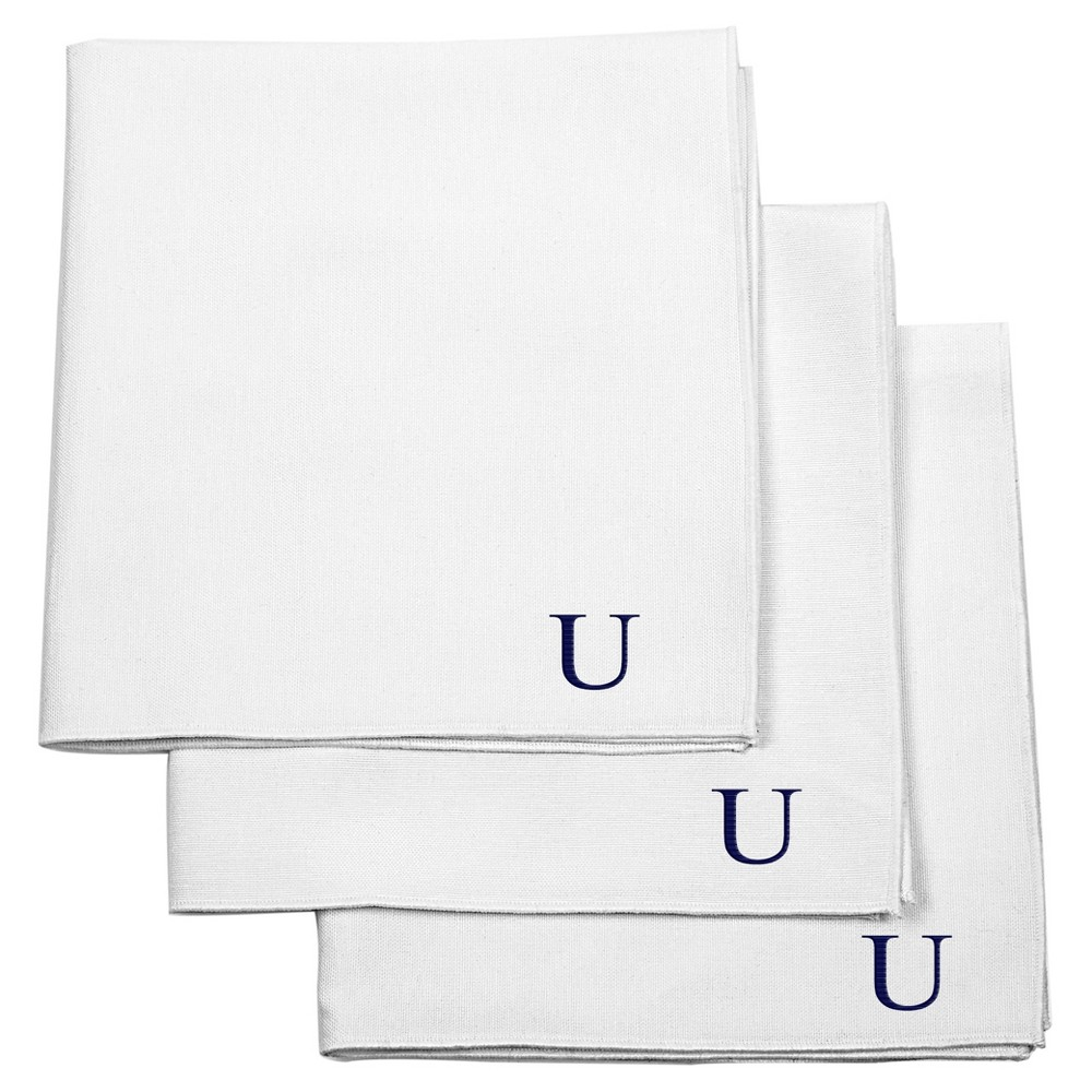 Monogram Groomsmen Gift Handkerchief Set - U, Mens, White