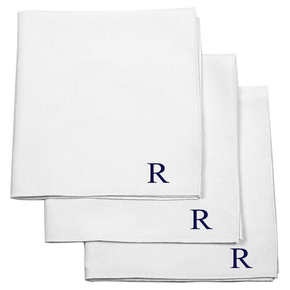 Monogram Groomsmen Gift Handkerchief Set - R, Mens, White