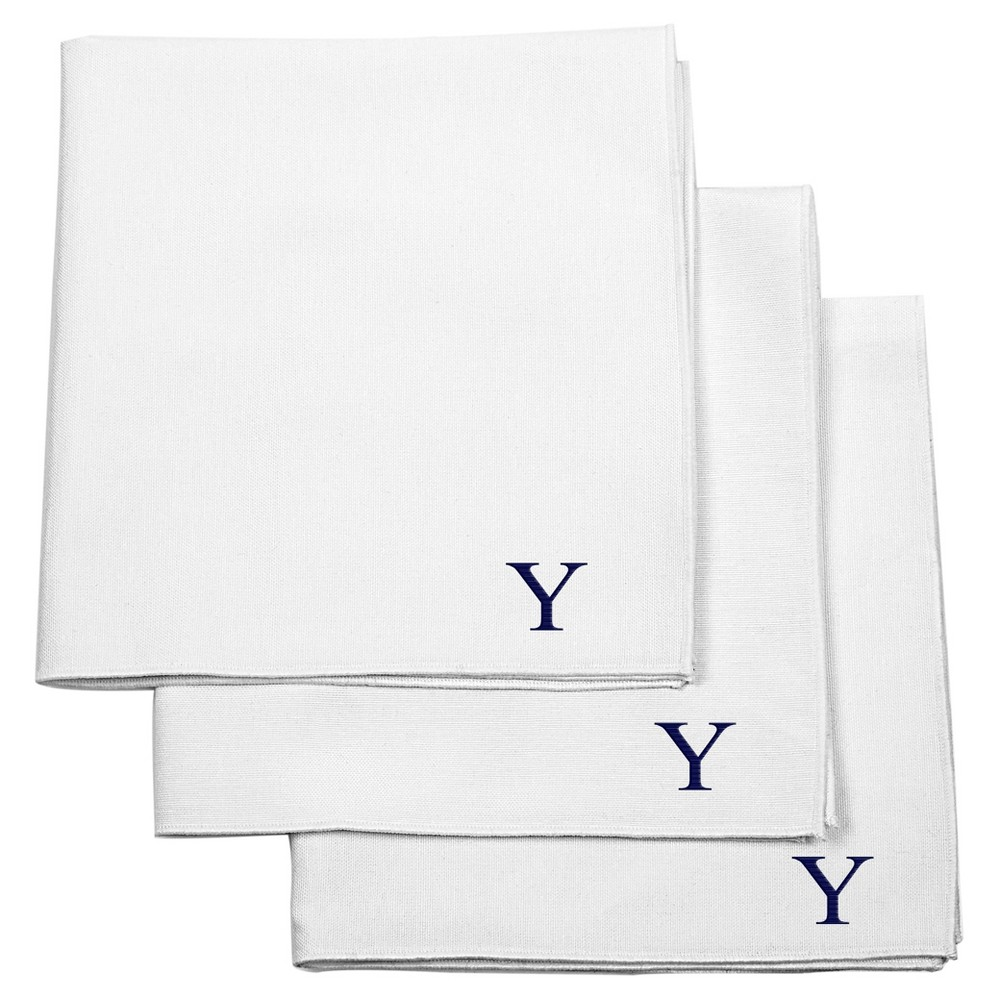 Monogram Groomsmen Gift Handkerchief Set - Y, Mens, White