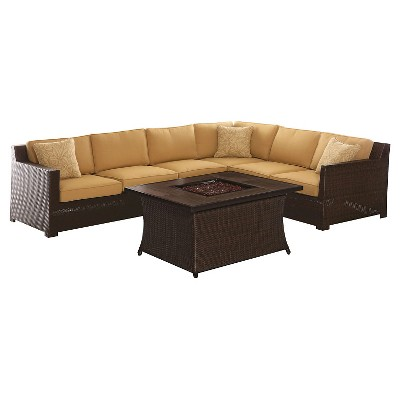 Hanover Metropolitan 6-Piece Fire Pit Lounge Set - Sahara Sand