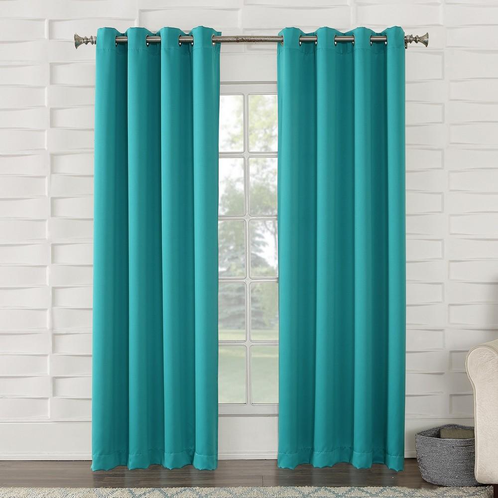 "Seymour Energy Efficient Grommet Curtain Panel Sky 54""""x95""""- Sun Zero, Sky Blue"