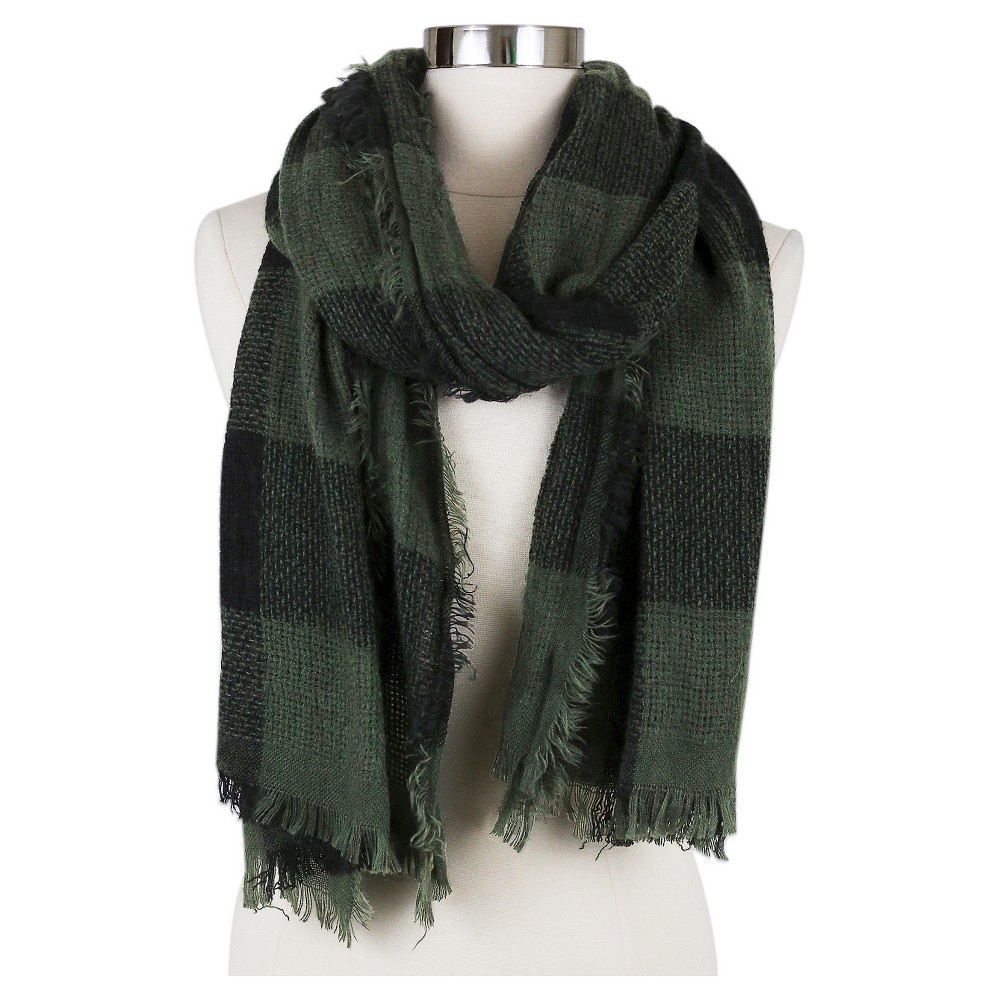 Womens Fashion Oblong Scarf Olive - Sylvia Alexander, Green