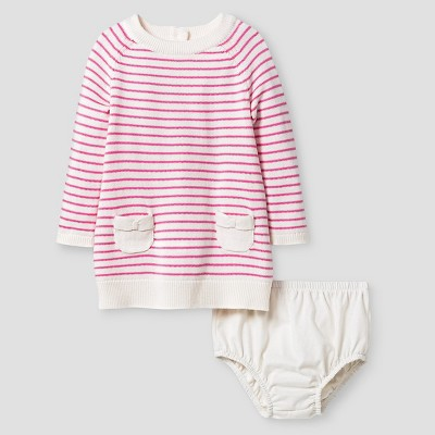 Baby Girls' Long-Sleeve Stripe Sweater Dress Baby Cat & Jack™ - Pink 3-6 M