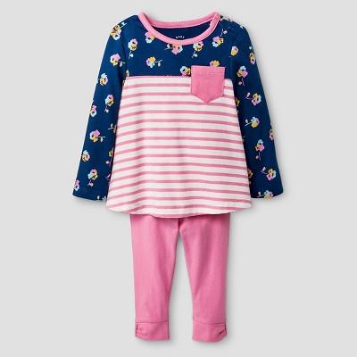 Baby Girls' Long-sleeve Pocket Tee Knit Tunic and Bow Bottom Legging Set Baby Cat & Jack™ - Pink/Blue 12 M