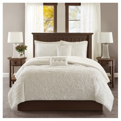 Embroidered Long Faux Fur Coverlet Set 5-Piece - Ivory