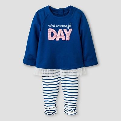 Baby Girls' Long-sleeve Ruffle Hem Tunic and Striped Legging Set Baby Cat & Jack™ - Blue 12 M