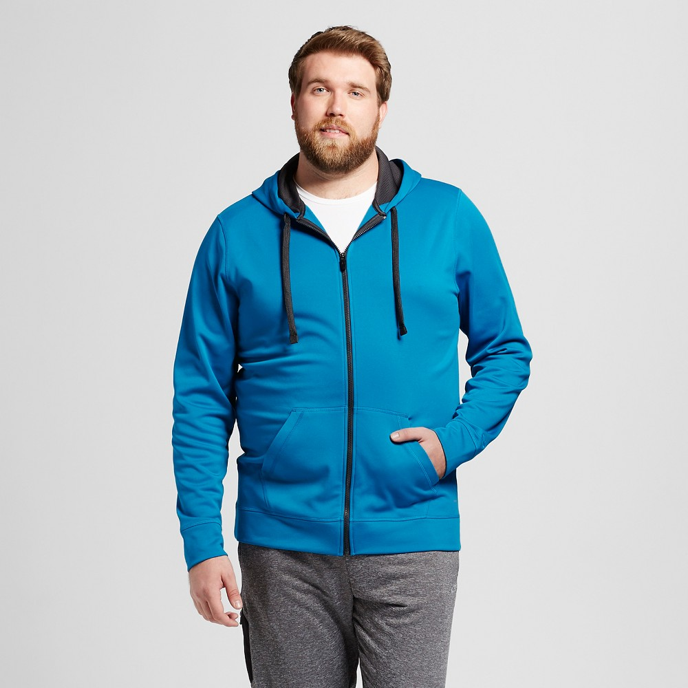 Mens Big & Tall Sizes Tech Fleece Full zip Hoodie - C9 Champion Underwater Blue LT