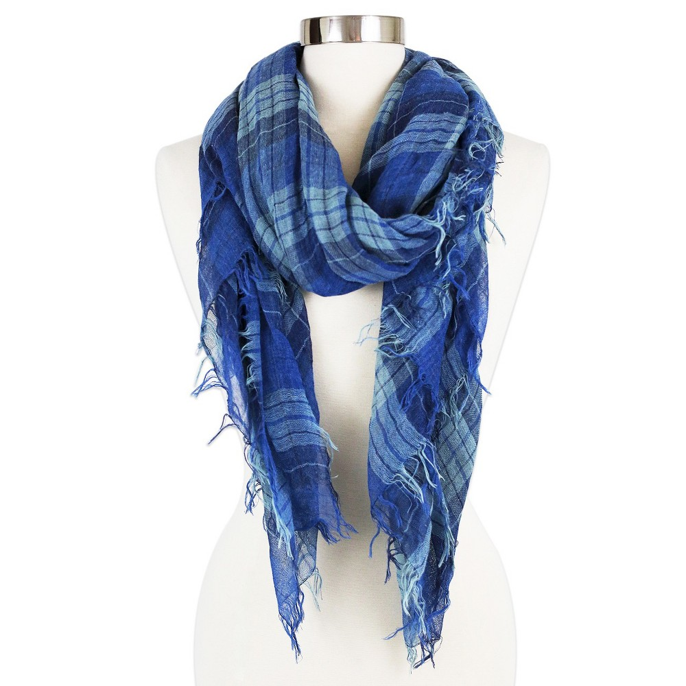 Womens Fashion Square Scarf Light Blue - Sylvia Alexander, Blue/Light Blue