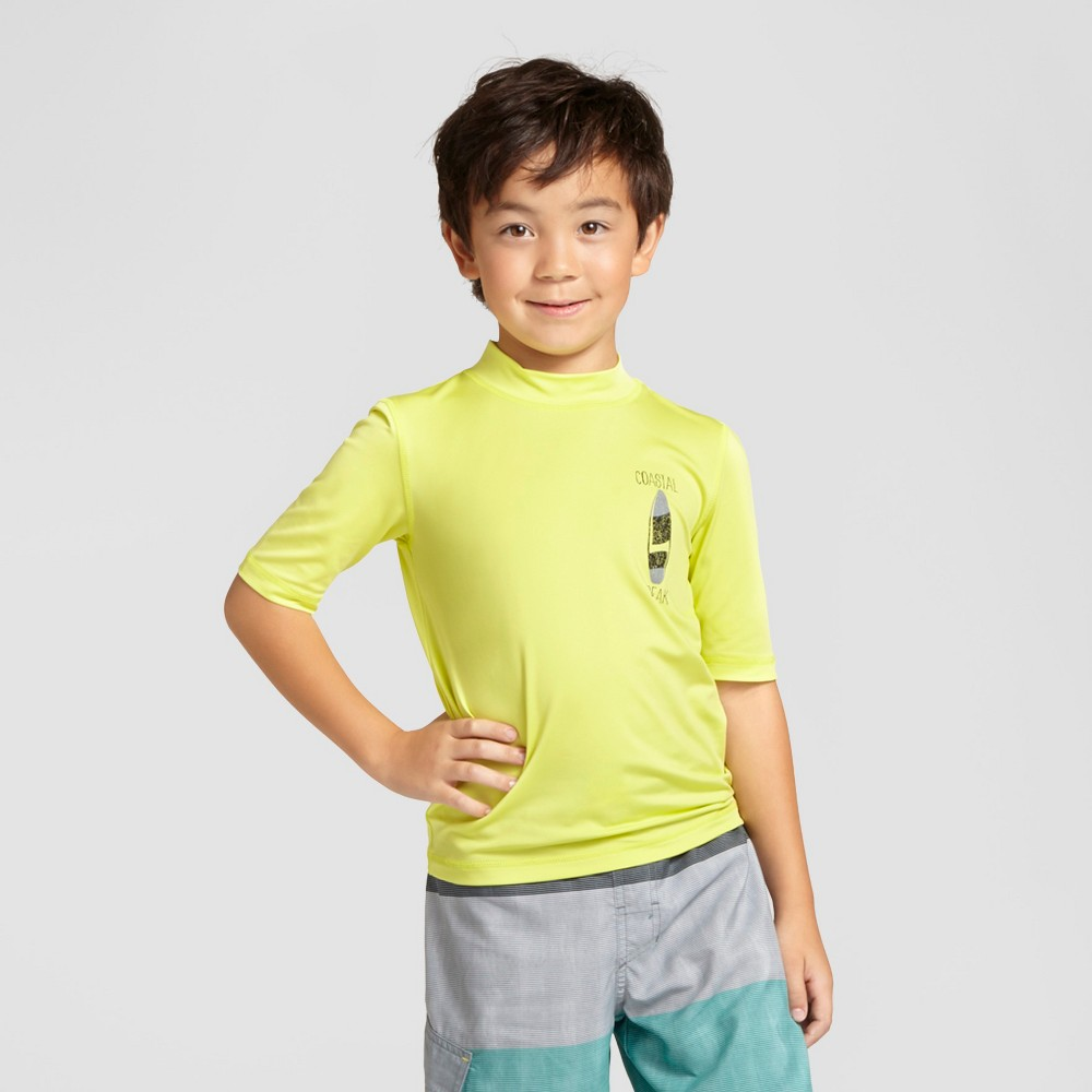 Boys Short Sleeve Rash Guards - Cat & Jack Peace Green - XL, Yellow