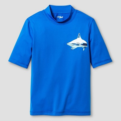 Boys' Short Sleeve Rash Guards Cat & Jack Sneaky Blue - S, Boy's