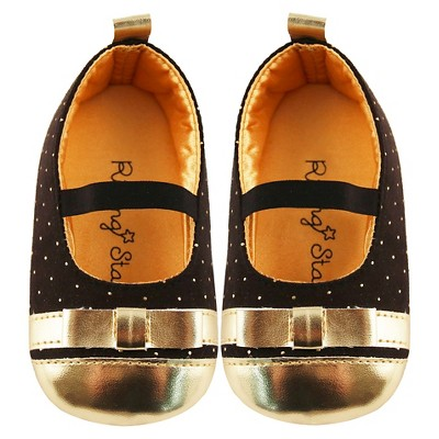 Baby Girls' Rising Star Ballerina Flat Crib Shoes Black/Gold 6-9M