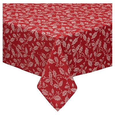 Red Holly Flourish Jacquard Tablecloth (60 X84 )- Design Imports
