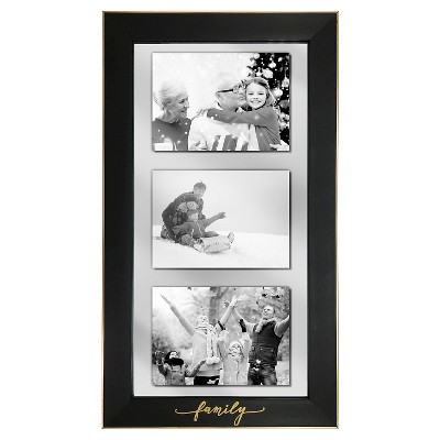 Multiple Image 'FAMILY' Holds 3 (5 x7 )Photos - Black Wall Frame