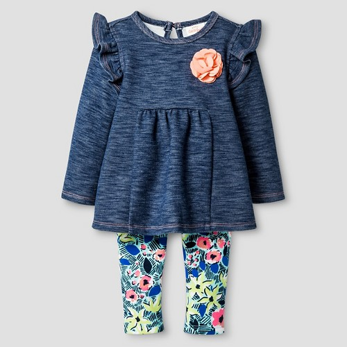 Baby Girls' 2 Piece Faux Denim Knit Tunic with Fuzzy Leggings Set Baby Cat & Jack - Nighttime Blue 12 M, Infant Girl's
