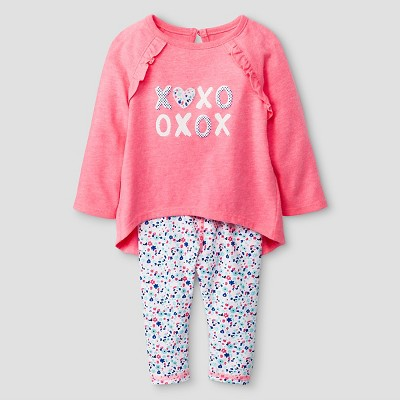 Baby Girls' 2 Piece Ruffle Back Tunic with Cuffed Jersey Legging Set Baby Cat & Jack™ - Coral 0-3 M