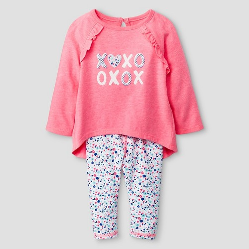 Baby Girls' 2 Piece Ruffle Back Tunic with Cuffed Jersey Legging Set Baby Cat & Jack - Coral 0-3 M, Infant Girl's, Pink