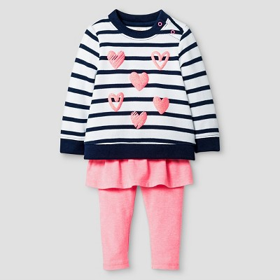 Baby Girls' 2 Piece Striped Sweatshirt and Skegging Set Baby Cat & Jack™ - Black/White/Coral 3-6 M