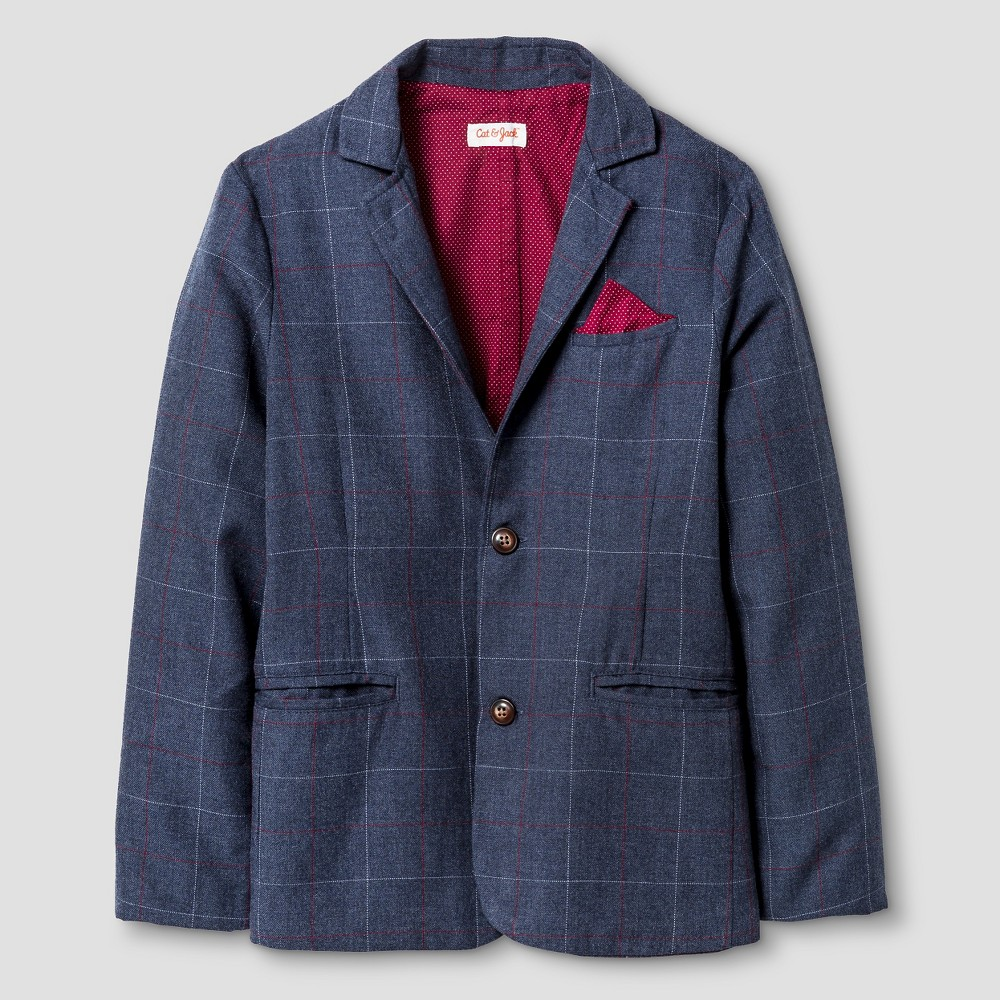 Boys Blazer - Cat & Jack Navy Plaid 12 Husky, Blue